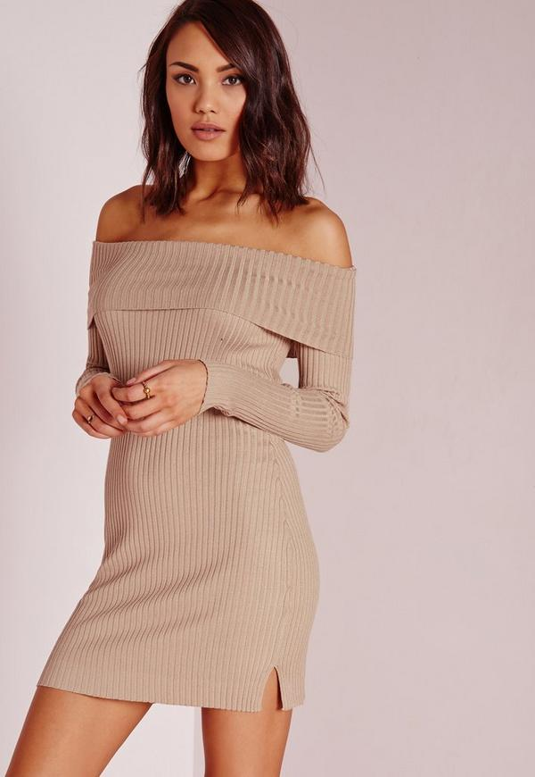 Bardot Mini Jumper Dress Camel
