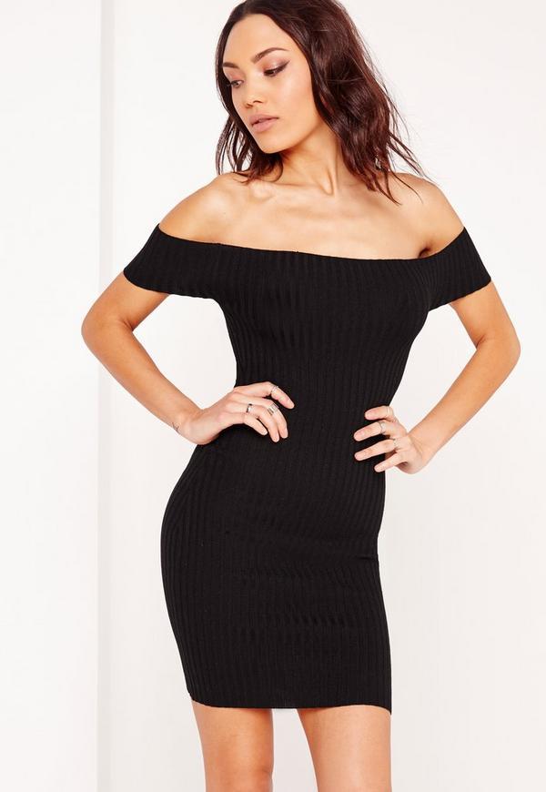Bardot Basic Ribbed Dress Black