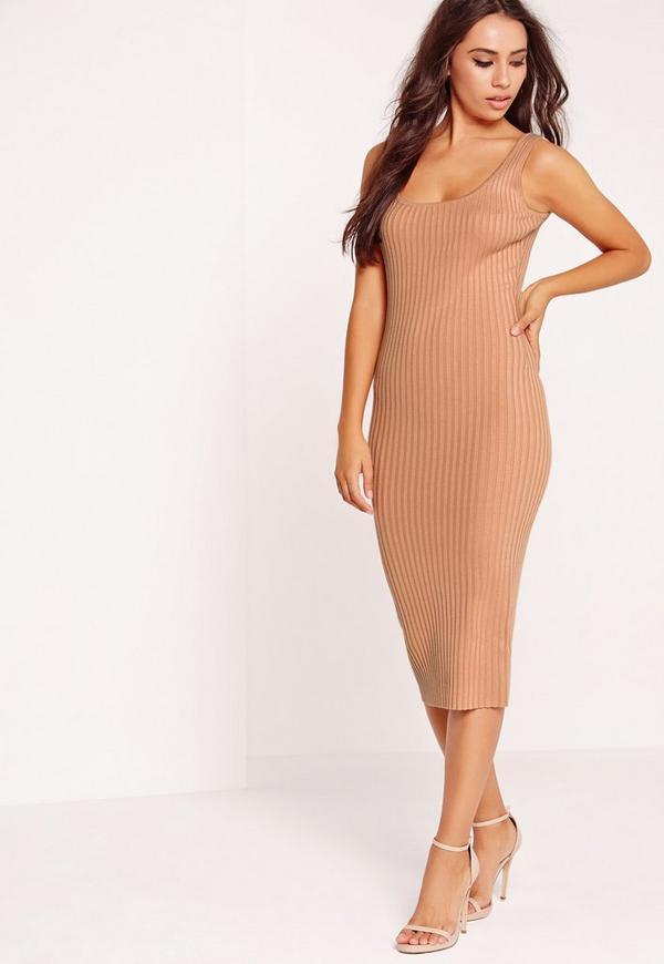 Basic Rib Cami Midi Dress Nude