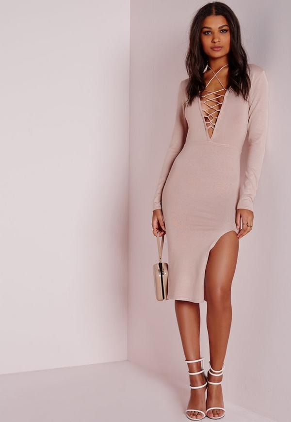 Pink Lace Up Knitted Midi Jumper Dress