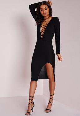 Lace Up Knitted Midi Dress Black