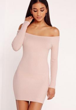 Off Shoulder Knitted Ribbed Dress Pink