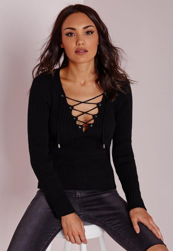 Lace Up Ribbed Knitted Jumper Black