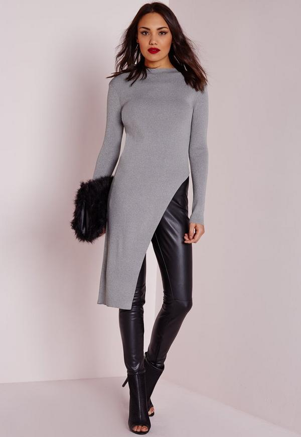 Asymmetric Long Sleeve Top Grey