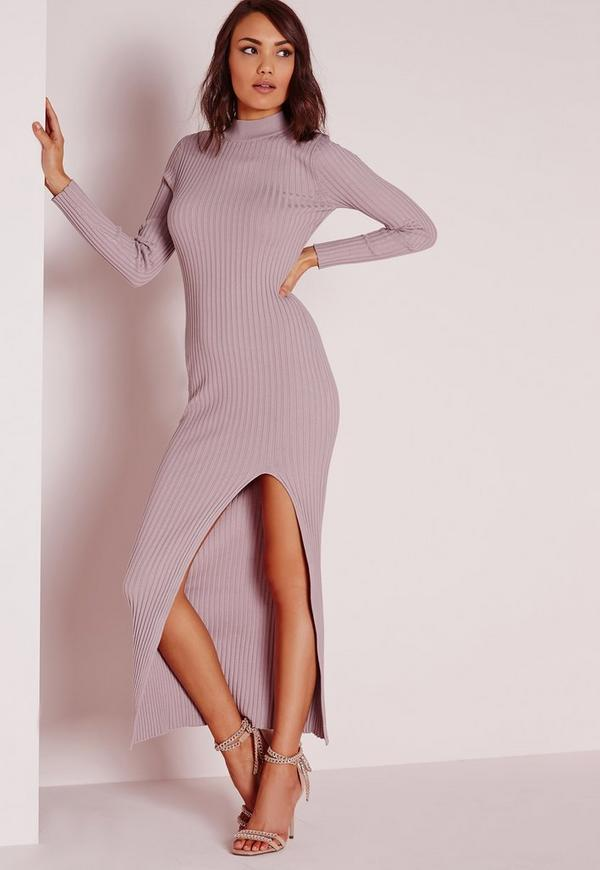 Thigh Split Maxi Jumper Dress Mauve
