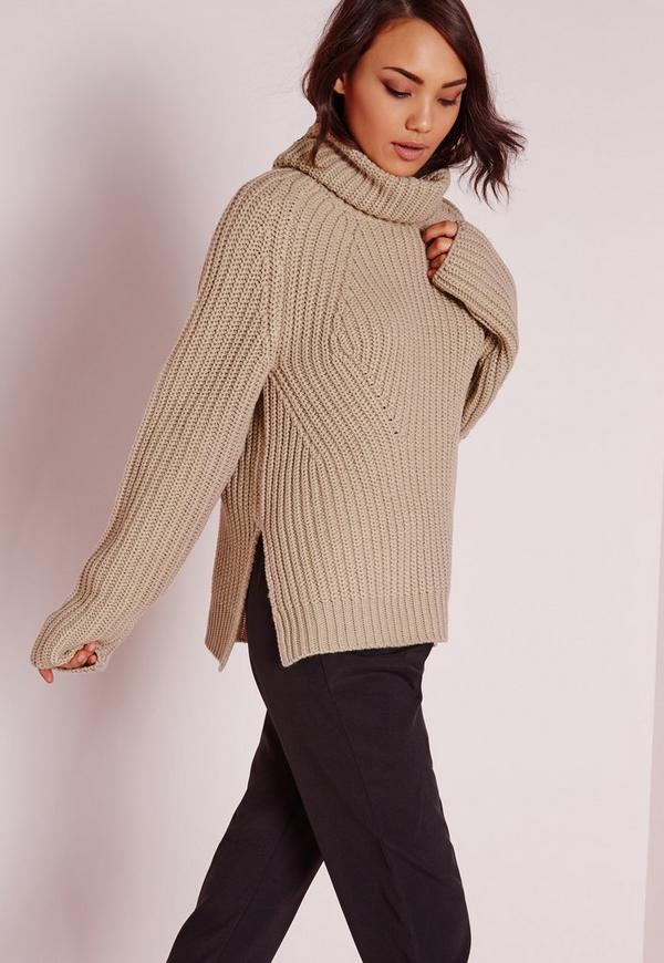 Chunky Roll Neck Jumper Nude