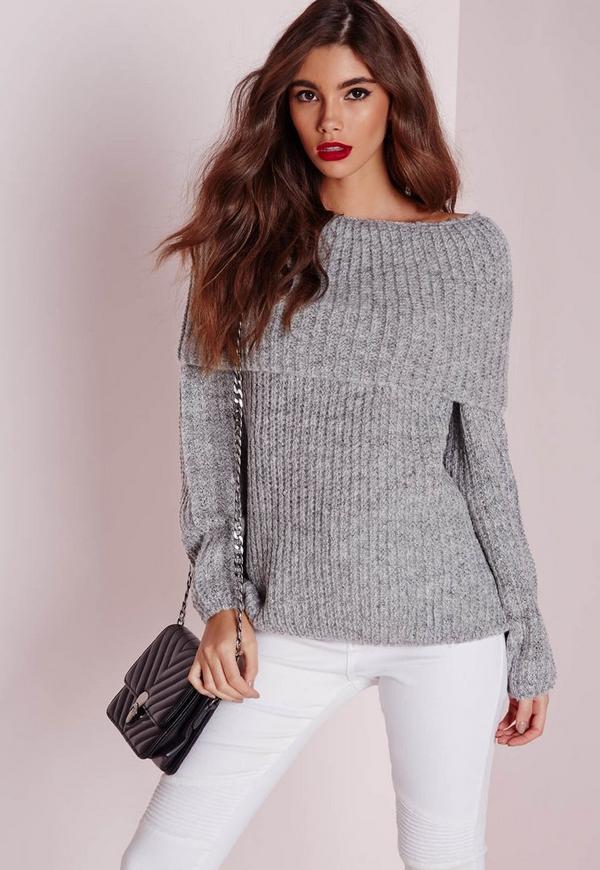 Chunky Bardot Oversize Jumper Grey