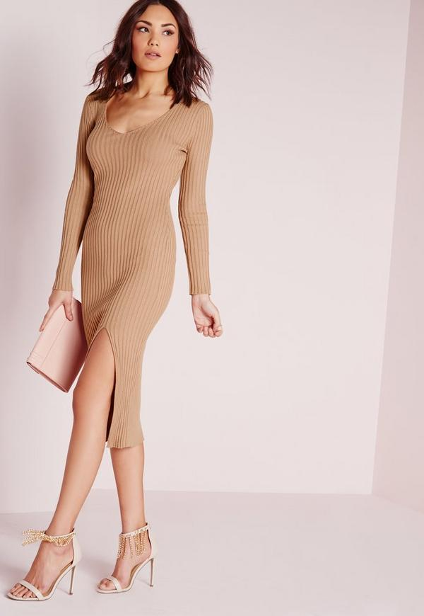 Long Sleeve Thigh Split Knitted Dress Camel
