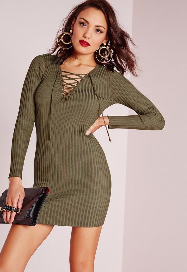 Lace Up Mini Jumper Dress Khaki