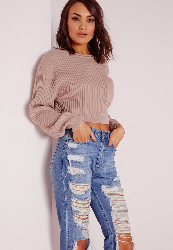 Ribbed Batwing Cropped Jumper Nude