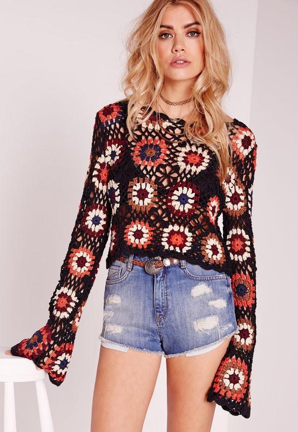 Crochet Multi Flower Long Sleeve Top Rust