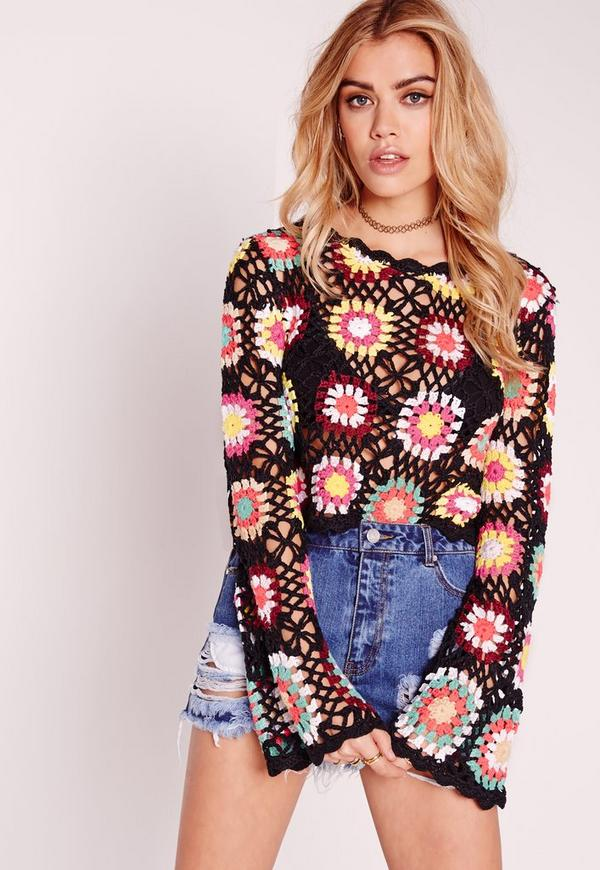 Crochet Multi Flower Long Sleeve Top Multi