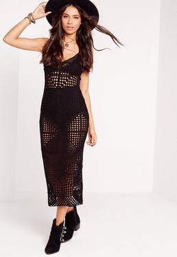 Crochet Strappy Midi Dress Black