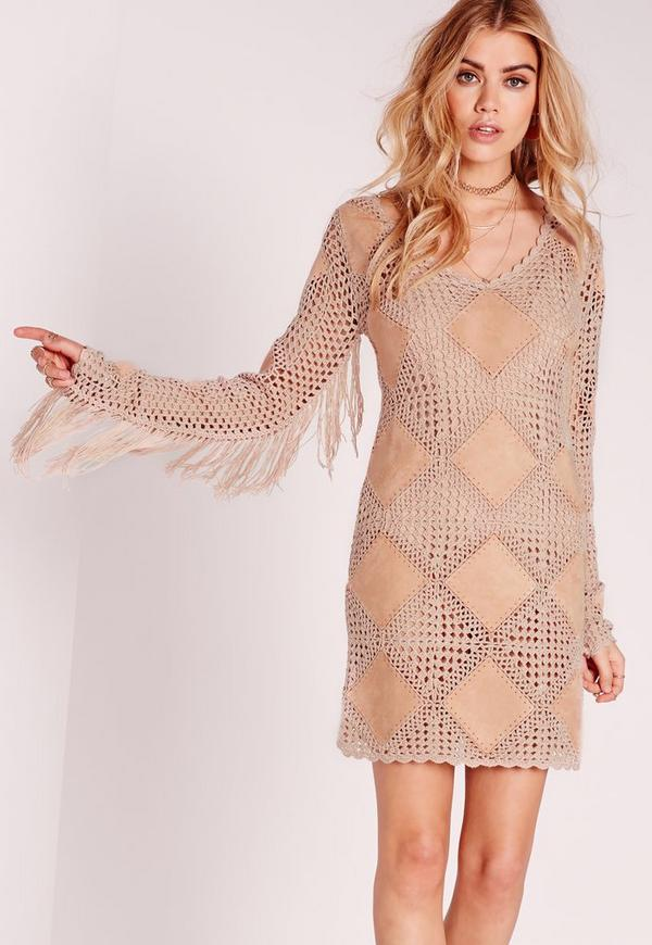 Faux Suede Tassel Crochet Mini Dress Nude