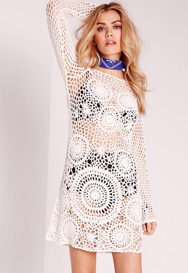 Scoop Back Crochet Shift Dress White
