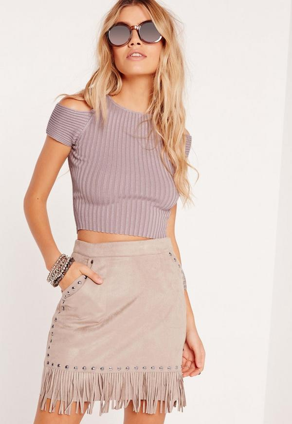 Cold Shoulder Crop Jumper Purple