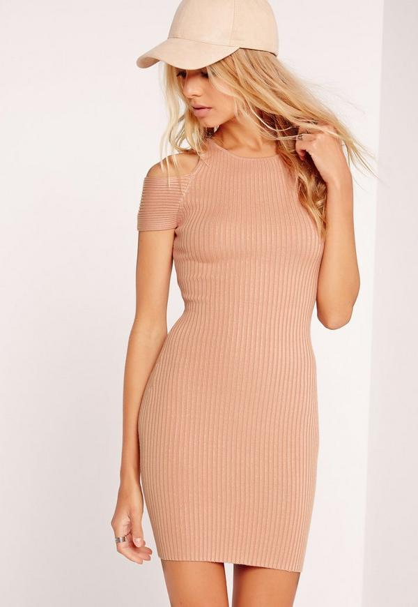 Cold Shoulder Ribbed Knitted Dress Nude