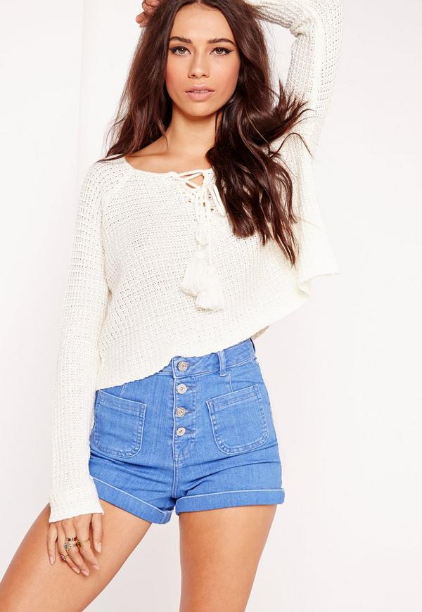 Long Sleeve Lace Up Cropped Jumper White
