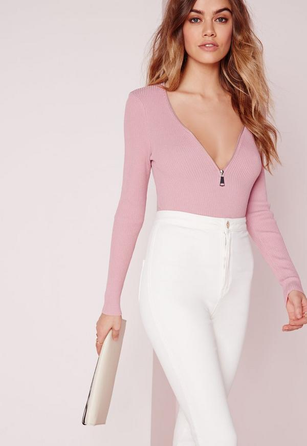 Long Sleeve Zip Jumper Mauve