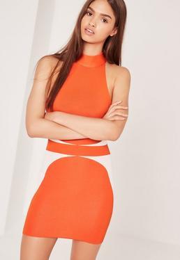 Robe orange effet bandage en mailles fines