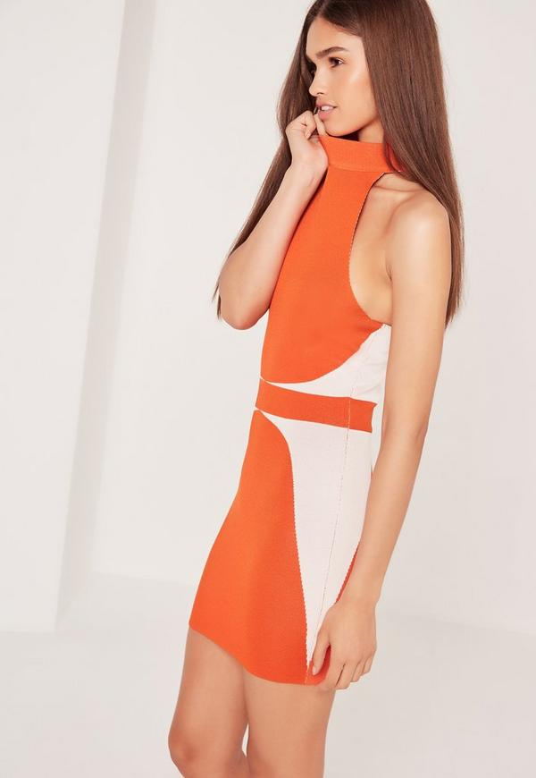 work this smokin' burnt orange mini skirt into your look for sleek styling. this simple yet strong piece features a bandage design and figure flattering stretch fit, perfect for adding new season vibes into your wardrobe. style with a bodysuit and towering heels.