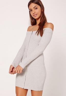 Grey Zip Through Bardot Long Sleeve Mini Sweater Dress