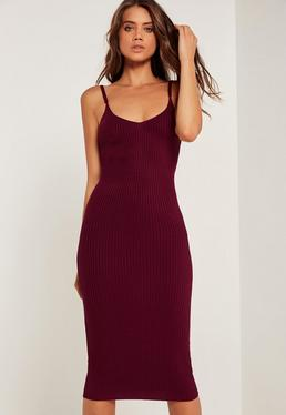 Strappy Rib Midi Dress Burgundy