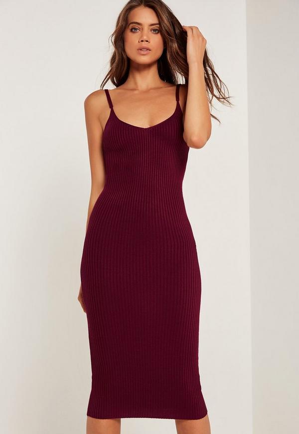Strappy Rib Midi Dress Burgundy