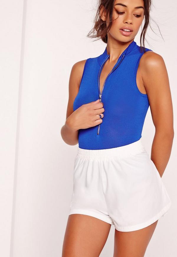 Zip Front Sleeveless High Neck Bodysuit Blue