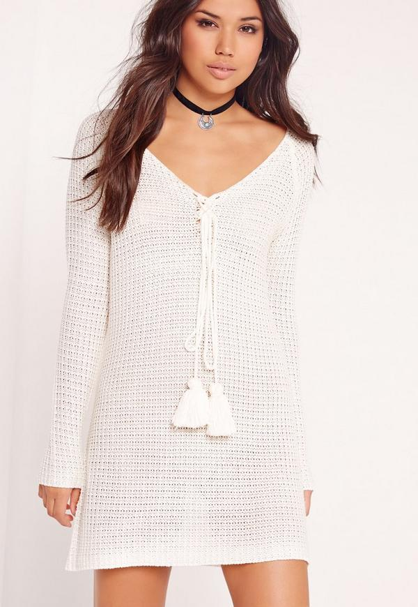 Long Sleeve Shift Dress Cream