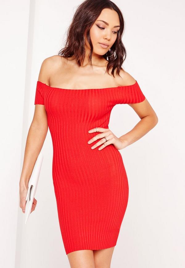 Bardot Ribbed Bodycon Dress Red