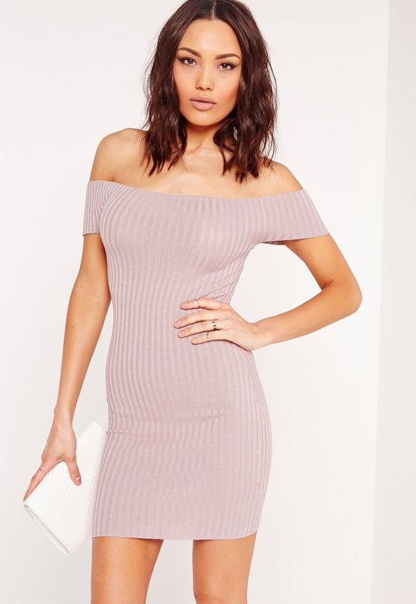 Bardot Ribbed Knitted Bodycon Dress Purple