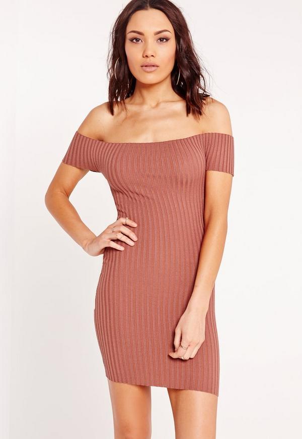 Bardot Ribbed Bodycon Dress Pink