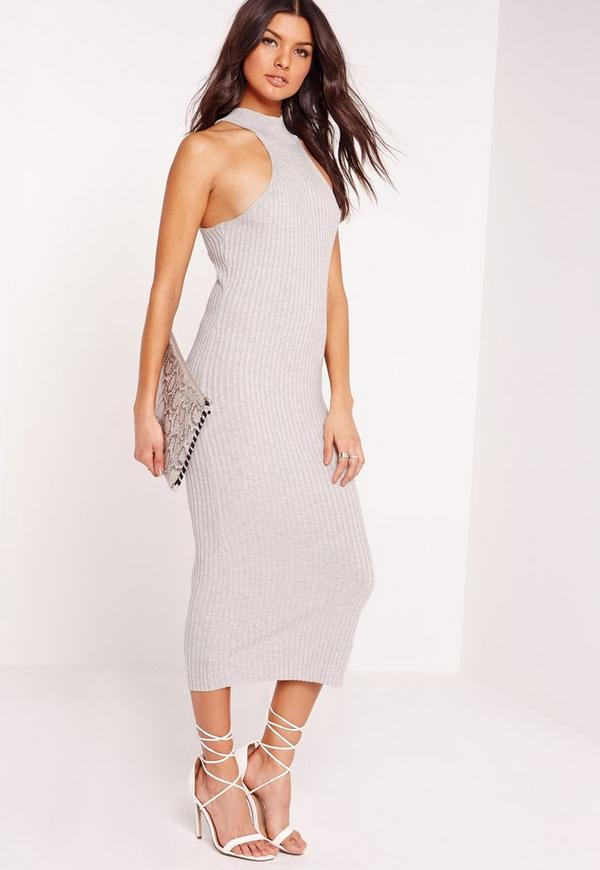 Knitted Ribbed Midi Racer Dress Grey