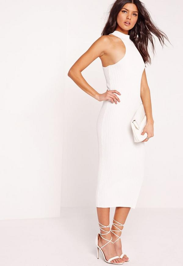 Knitted Ribbed Midi Racer Dress White