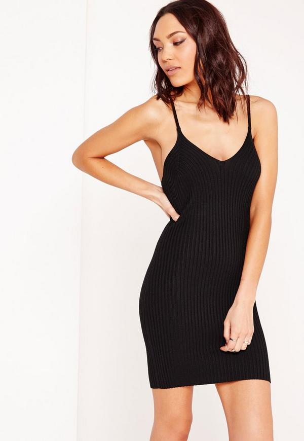 Panelled Rib Mini Dress Black