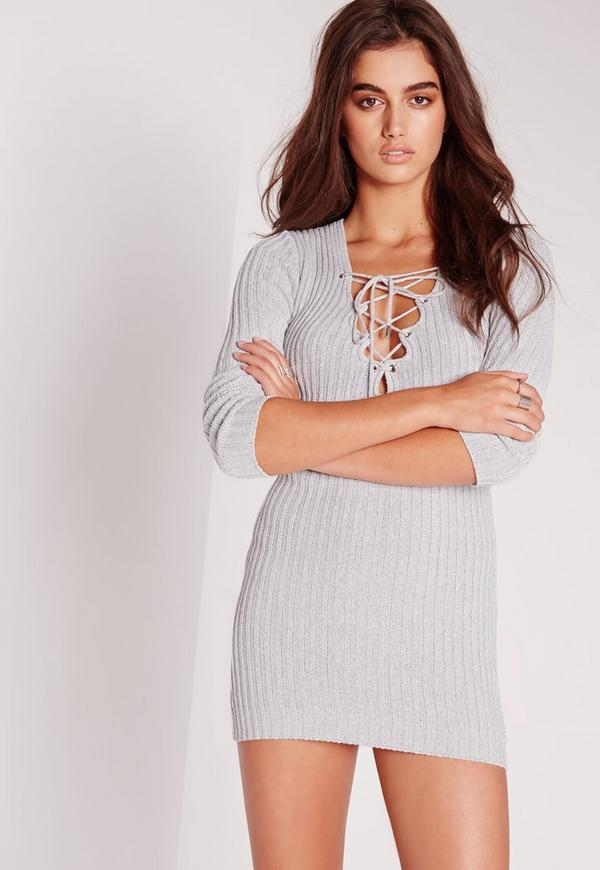 Lace Up Front Bodycon Dress Grey