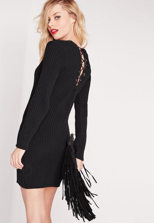 Lace Up Back Bodycon Dress Black