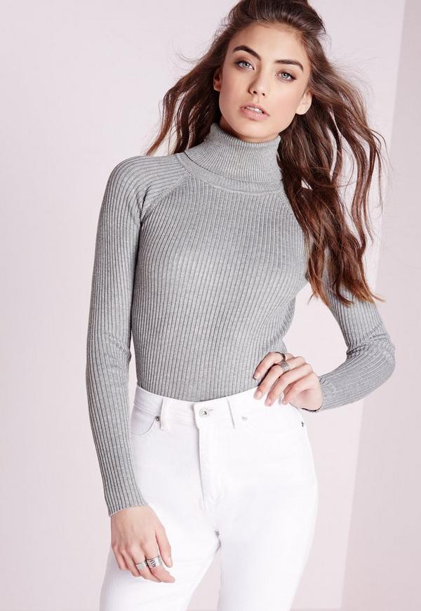 roll neck fine knit jumper grey