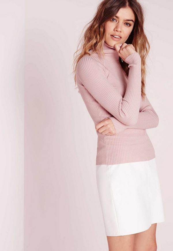 roll neck fine knitted jumper pink
