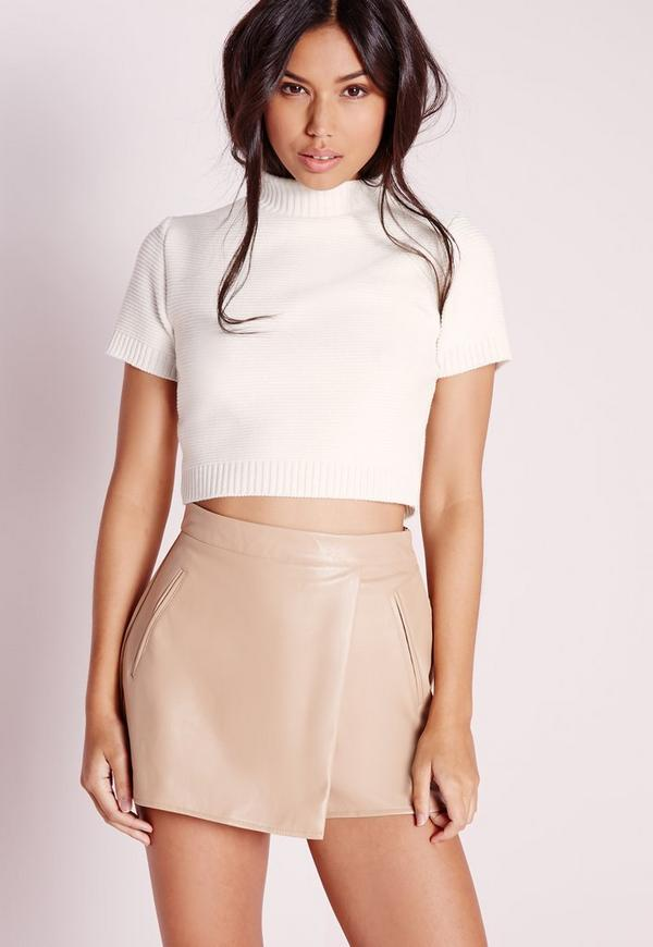 Short Sleeve Cropped Jumper Cream
