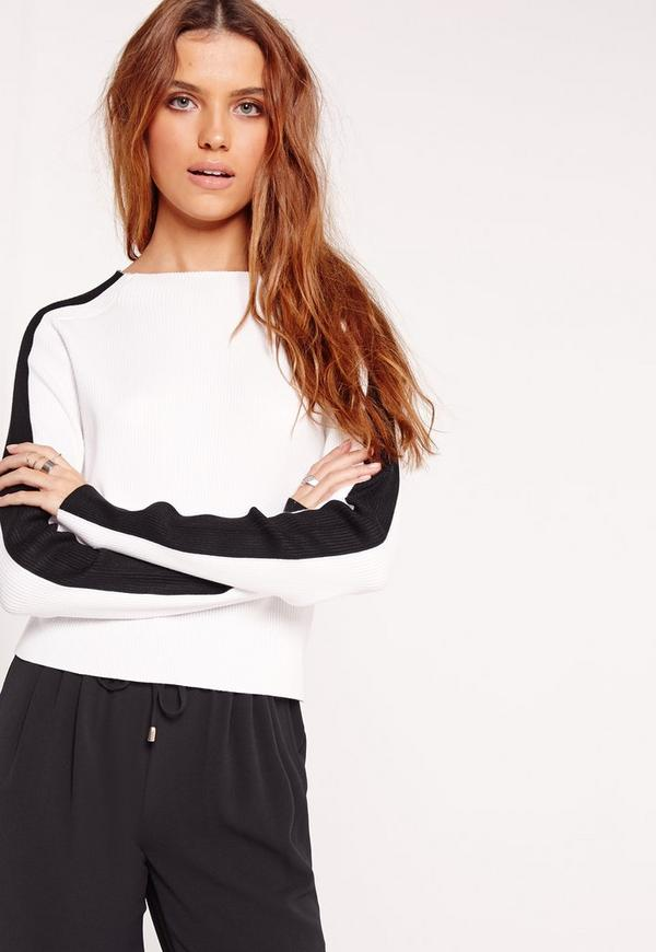 Contrast Sleeve Knitted Jumper Monochrome