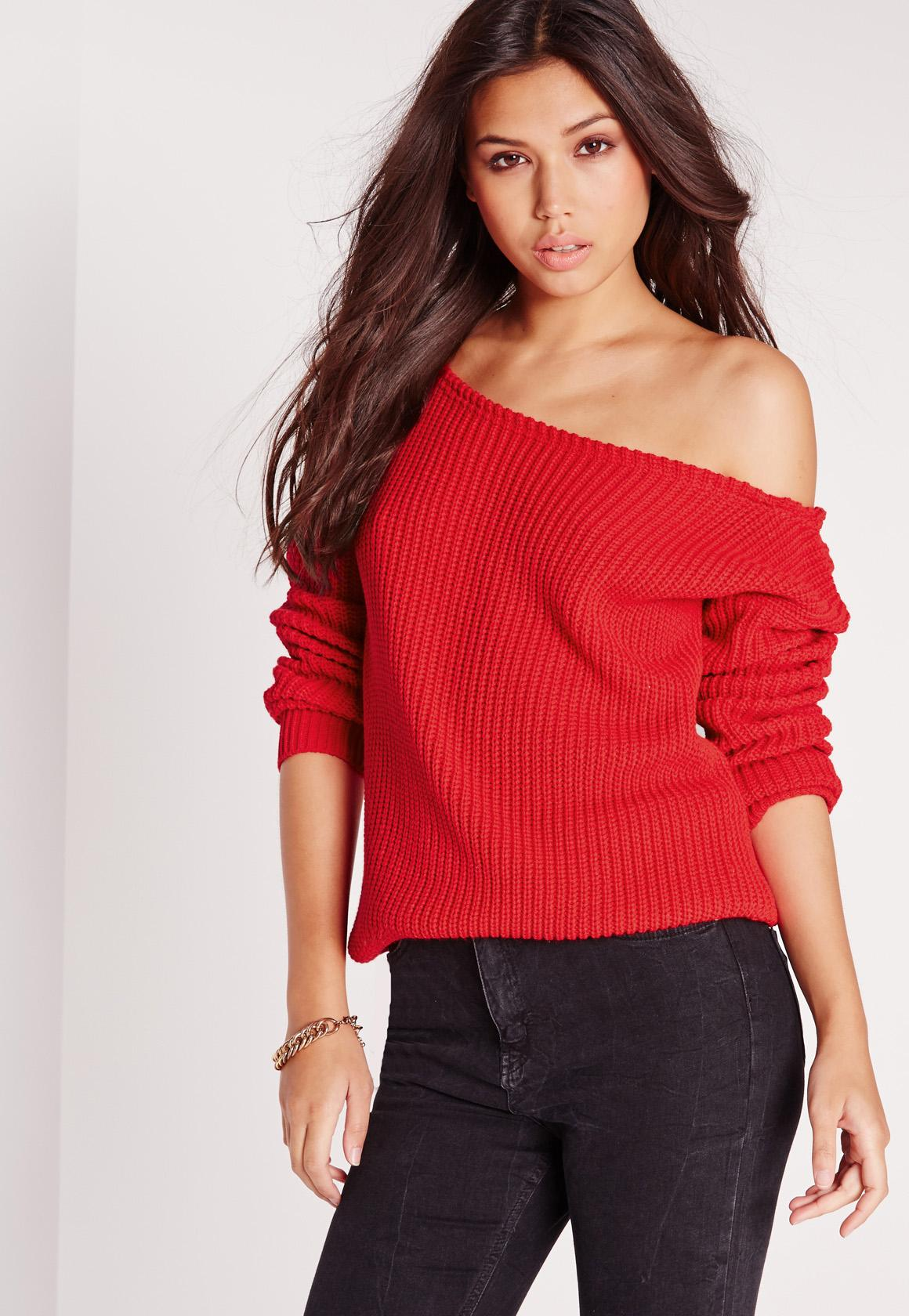 Off Shoulder Sweater Red | Missguided