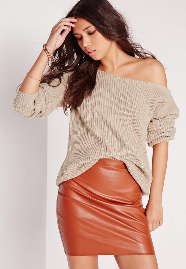 Off Shoulder Jumper Nude