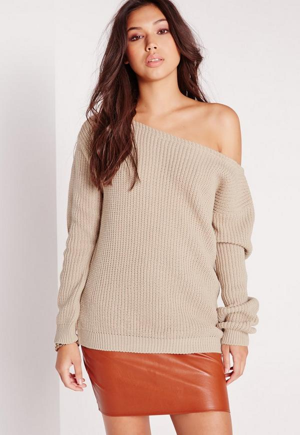 Off Shoulder Sweater Nude | Missguided