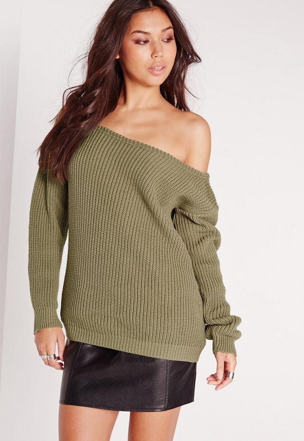 off shoulder sweater khaki missguided. Black Bedroom Furniture Sets. Home Design Ideas