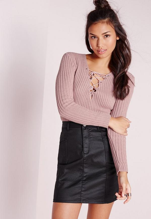 Lace Up Jumper Mauve
