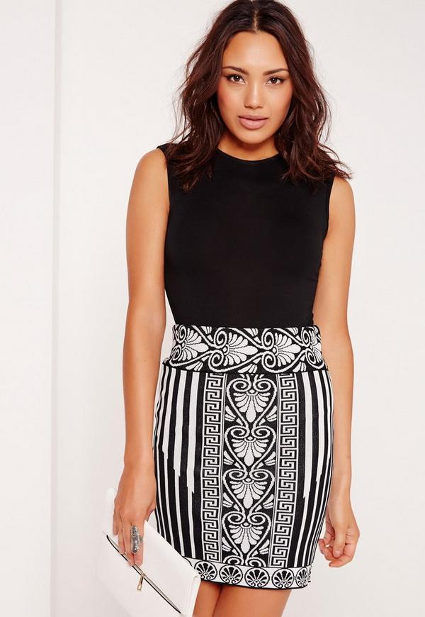 Knitted Jacquard Mini Skirt Mono
