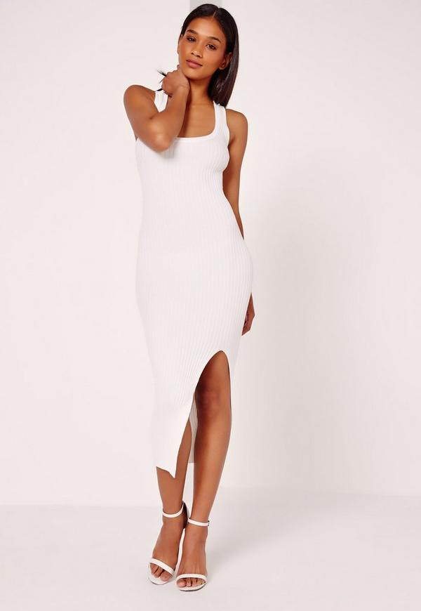 Cross Strap Rib Midi White
