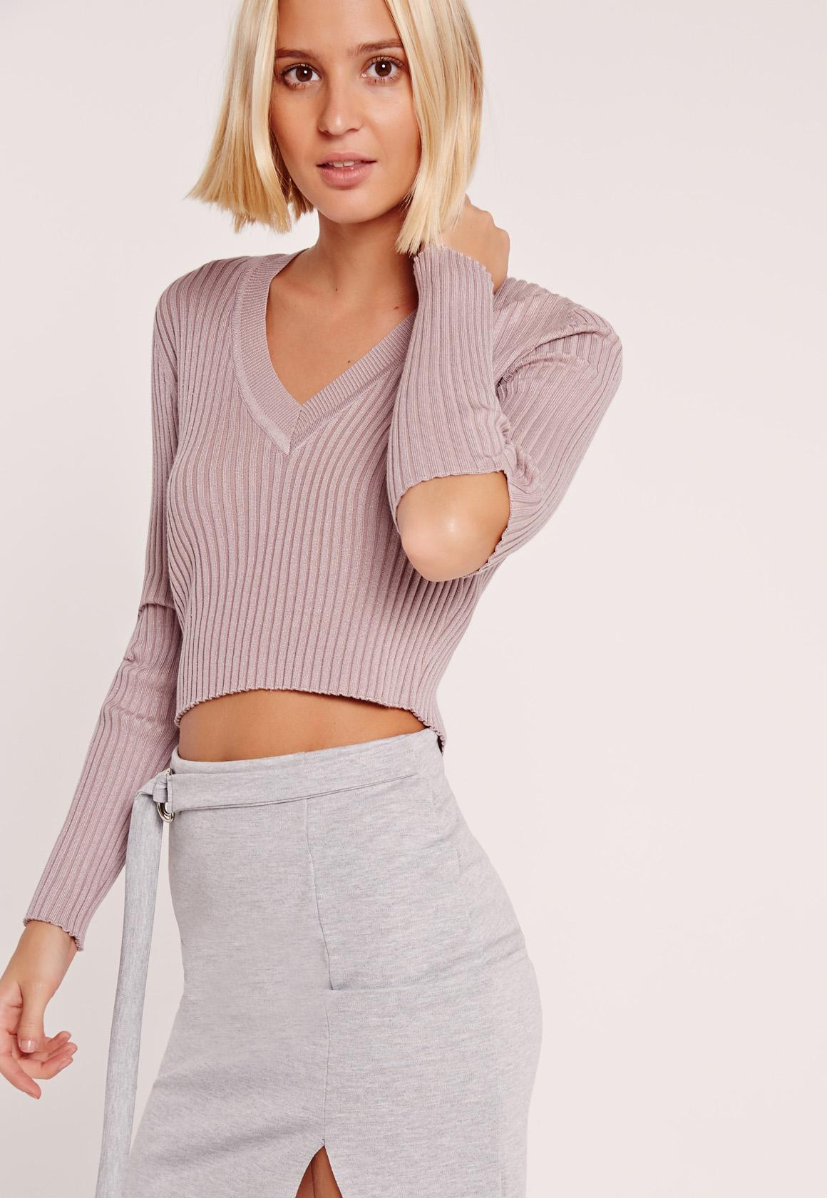 Pink V Neck Elbow Slash Cropped Sweater   Missguided